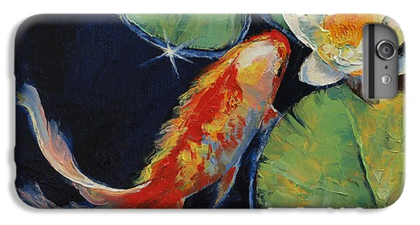 Koi And White Lily IPhone 6s Plus Case by Michael Creese