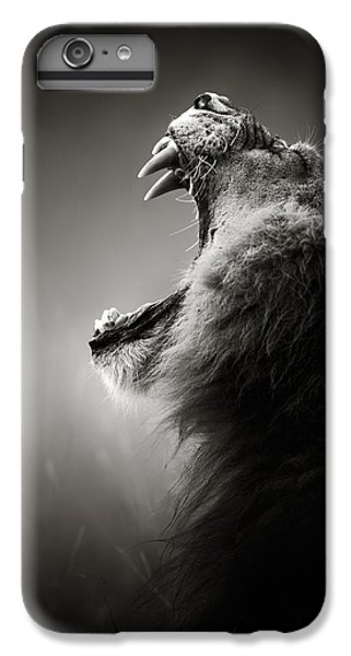 White iPhone 6s Plus Case - Lion Displaying Dangerous Teeth by Johan Swanepoel