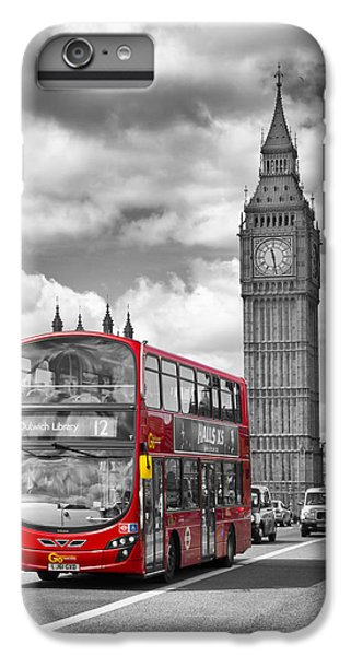 London - Houses Of Parliament And Red Bus IPhone 6s Plus Case by Melanie Viola