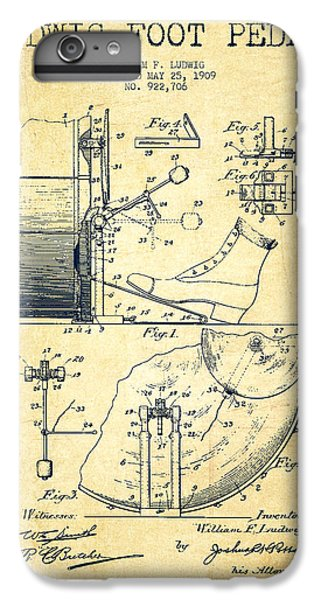 Folk Art iPhone 6s Plus Case - Ludwig Foot Pedal Patent Drawing From 1909 - Vintage by Aged Pixel
