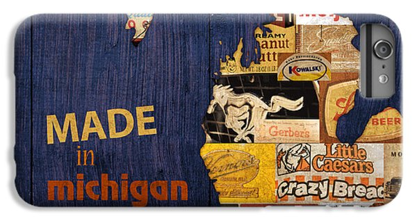 Made In Michigan Products Vintage Map On Wood IPhone 6s Plus Case