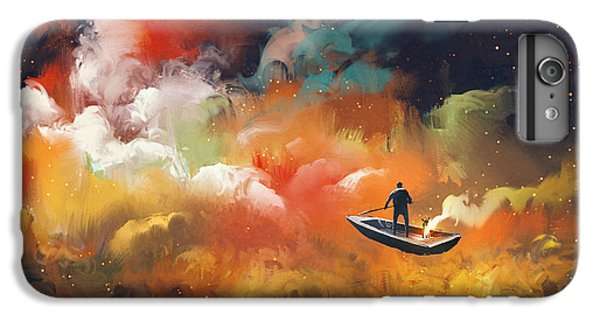 Space iPhone 6s Plus Case - Man On A Boat In The Outer Space With by Tithi Luadthong