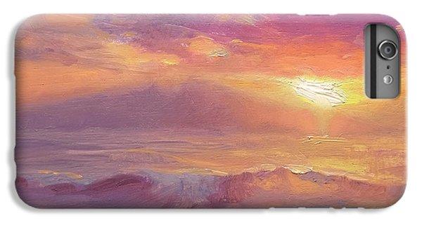 Ocean Sunset iPhone 6s Plus Case - Maui To Molokai Hawaiian Sunset Beach And Ocean Impressionistic Landscape by Karen Whitworth