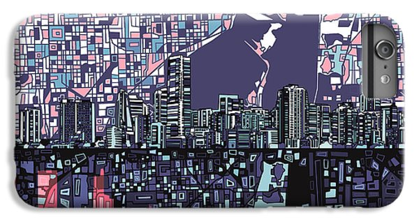 Miami Skyline iPhone 6s Plus Case - Miami Skyline Abstract by Bekim Art