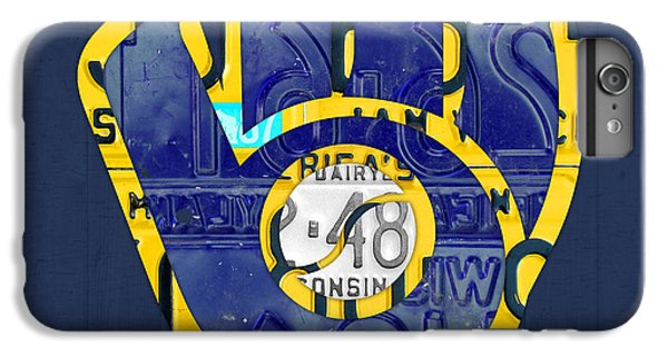 Milwaukee Brewers Vintage Baseball Team Logo Recycled Wisconsin License Plate Art IPhone 6s Plus Case by Design Turnpike