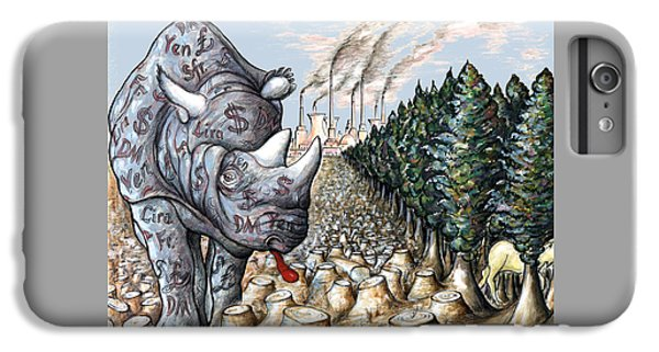 Rhinocerus iPhone 6s Plus Case - Donald Trump - Money Against Environment - Political Cartoon by Art America Gallery Peter Potter