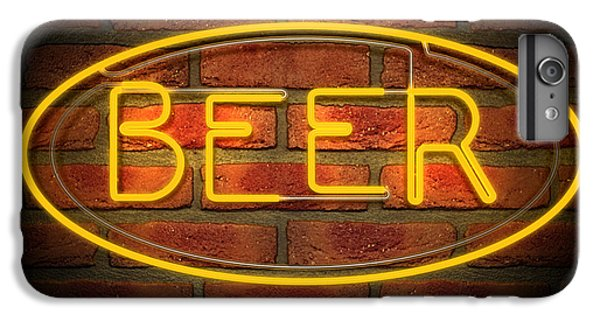 Bar iPhone 6s Plus Case - Neon Beer Sign On A Face Brick Wall by Allan Swart