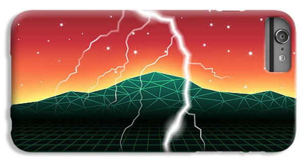 Space iPhone 6s Plus Case - Neon New Retro Wave Landscape With by Swill Klitch
