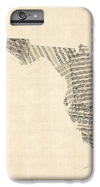 Old Sheet Music Map Of Florida IPhone 6s Plus Case by Michael Tompsett