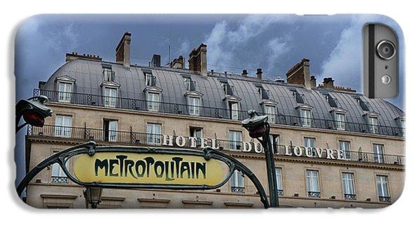 Paris Metropolitain Sign At The Paris Hotel Du Louvre Metropolitain Sign Art Noueveau Art Deco IPhone 6s Plus Case by Kathy Fornal