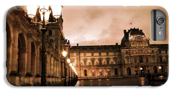 Louvre iPhone 6s Plus Case - Paris Louvre Museum Sepia Night Lights Street Lamps - Paris Sepia Louvre Museum Night Photography by Kathy Fornal
