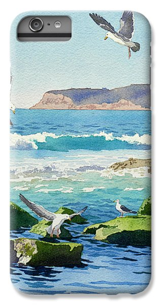 Seagull iPhone 6s Plus Case - Point Loma Rocks Waves And Seagulls by Mary Helmreich