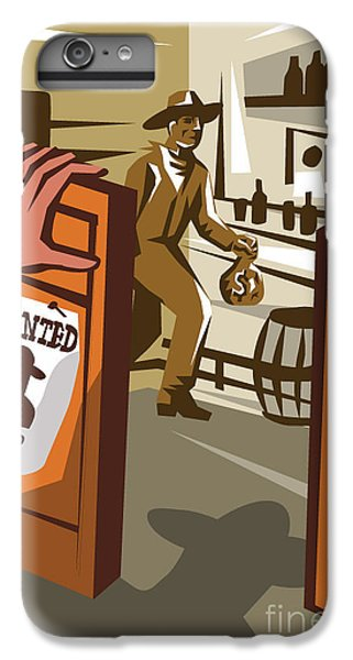 Drum iPhone 6s Plus Case - Poster Illustration Of An Outlaw Cowboy by Patrimonio Designs Ltd