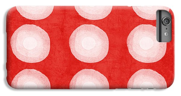 Wood iPhone 6s Plus Case - Red And White Shibori Circles by Linda Woods