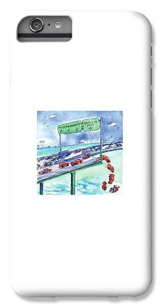 Baseball iPhone 6s Plus Case - Red Cars Drop Off A Bridge Under A Sign That Says by Michael Crawford
