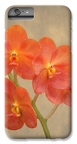 Scarlet iPhone 6s Plus Case - Red Scarlet Orchid On Grunge by Rudy Umans