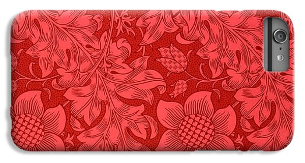 Red Sunflower Wallpaper Design, 1879 IPhone 6s Plus Case by William Morris