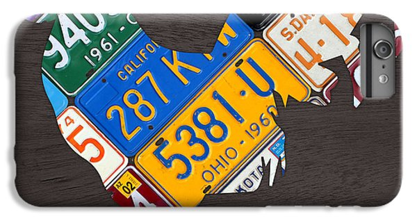Rooster iPhone 6s Plus Case - Rooster Recycled License Plate Art On Gray Wood by Design Turnpike