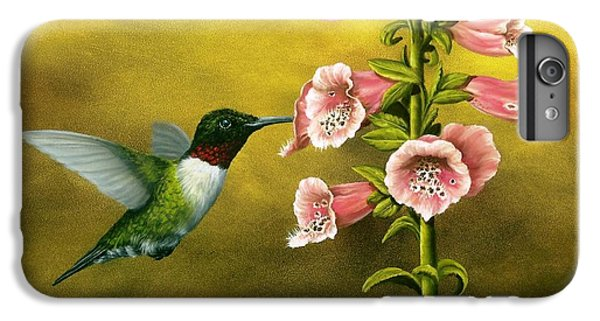 Ruby Throated Hummingbird And Foxglove IPhone 6s Plus Case by Rick Bainbridge