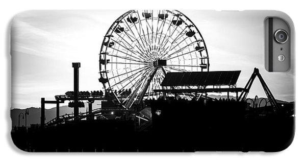 Santa Monica Ferris Wheel Black And White Photo IPhone 6s Plus Case by Paul Velgos