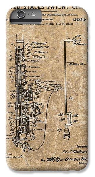 Saxophone Patent Design Illustration IPhone 6s Plus Case by Dan Sproul