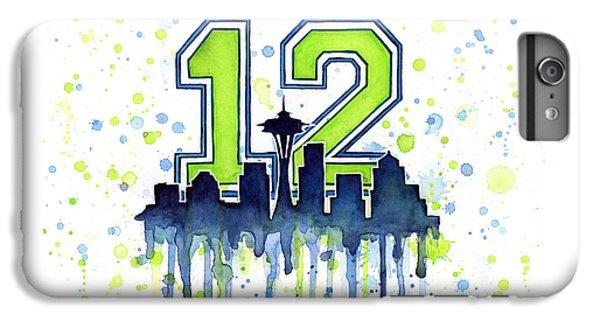 Seattle Seahawks 12th Man Art IPhone 6s Plus Case by Olga Shvartsur
