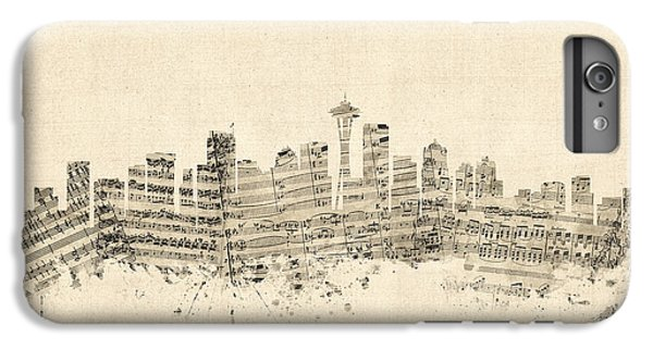 Seattle Washington Skyline Sheet Music Cityscape IPhone 6s Plus Case by Michael Tompsett