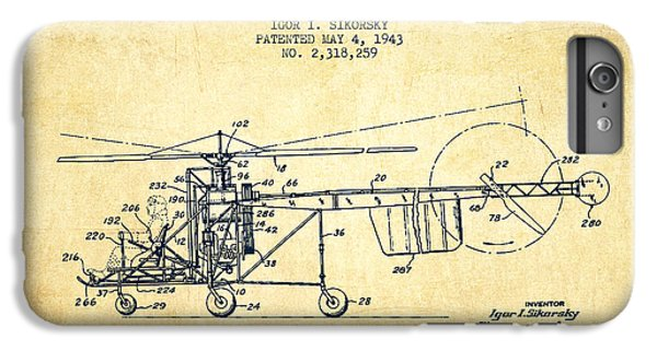 Helicopter iPhone 6s Plus Case - Sikorsky Helicopter Patent Drawing From 1943-vintgae by Aged Pixel