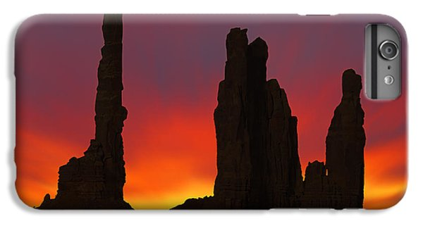 Desert Sunset iPhone 6s Plus Case - Silhouette Of Totem Pole After Sunset - Monument Valley by Mike McGlothlen