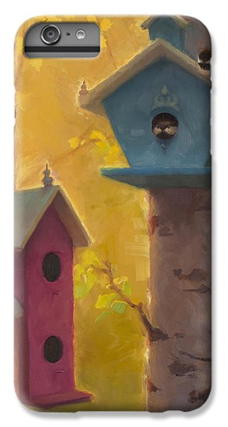 Chickadee iPhone 6s Plus Case - Spring Chickadees 2 - Birdhouse And Birch Forest by Karen Whitworth