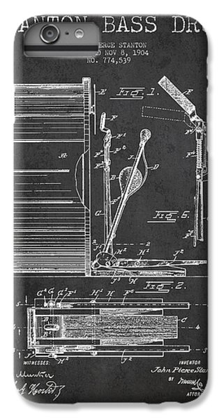 Drum iPhone 6s Plus Case - Stanton Bass Drum Patent Drawing From 1904 - Dark by Aged Pixel