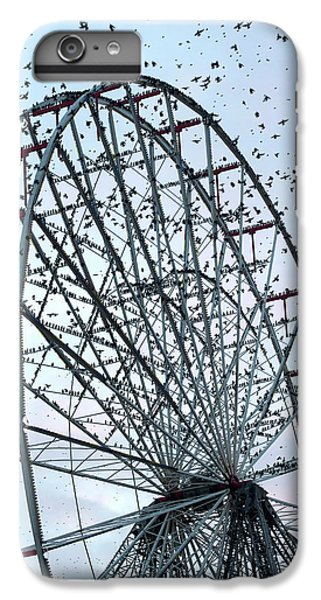 Starlings iPhone 6s Plus Case - Starling Flock On Blackpool Ferris Wheel by Simon Booth