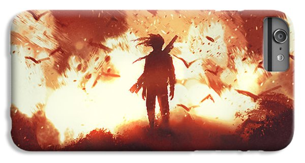 Explosion iPhone 6s Plus Case - The Man With A Gun Standing Against by Tithi Luadthong