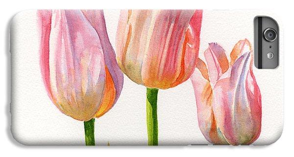 Three Peach Colored Tulips Square Design IPhone 6s Plus Case by Sharon Freeman