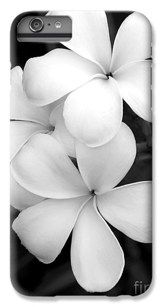 White iPhone 6s Plus Case - Three Plumeria Flowers In Black And White by Sabrina L Ryan