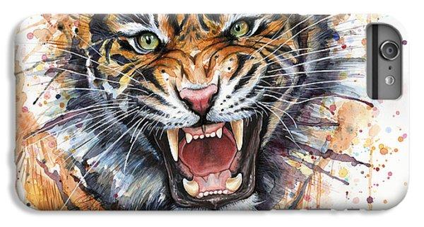 Tiger Watercolor Portrait IPhone 6s Plus Case by Olga Shvartsur