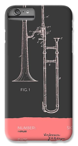 Trombone iPhone 6s Plus Case - Trombone Patent From 1902 - Modern Gray Salmon by Aged Pixel