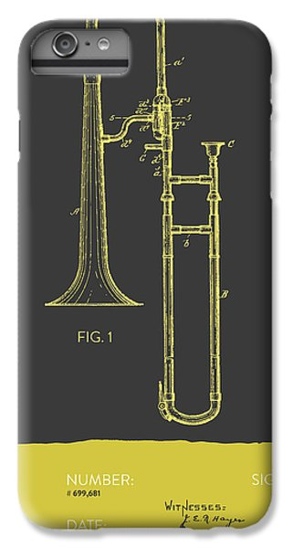 Trombone iPhone 6s Plus Case - Trombone Patent From 1902 - Modern Gray Yellow by Aged Pixel