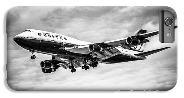 Airplane iPhone 6s Plus Case - United Airlines Airplane In Black And White by Paul Velgos