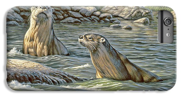 Otter iPhone 6s Plus Case - Up For Air - River Otters by Paul Krapf