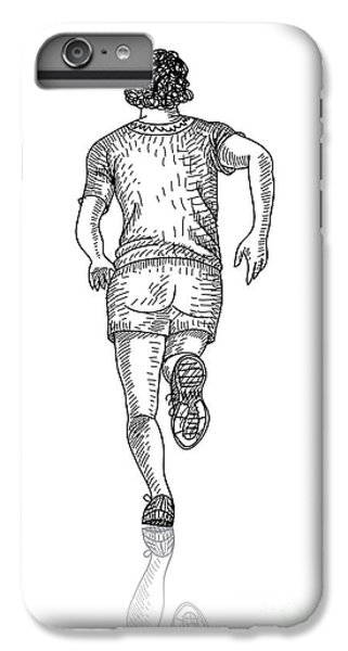 Fitness iPhone 6s Plus Case - Vector Sketch Of Man Runs Into The by Farferros