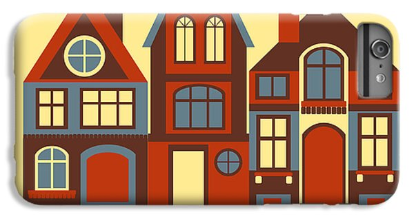 Fairy iPhone 6s Plus Case - Vintage City Houses On Yellow Background by Okhristy