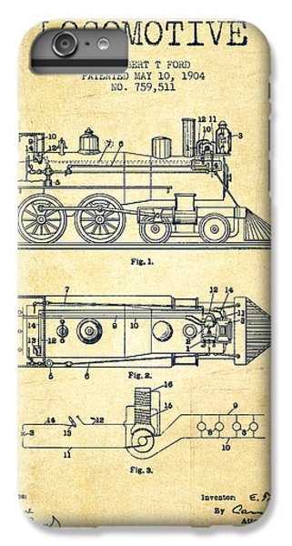 Vintage Locomotive Patent From 1904 - Vintage IPhone 6s Plus Case by Aged Pixel