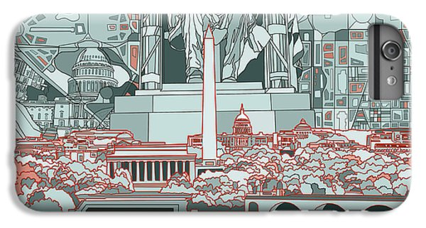 Lincoln Memorial iPhone 6s Plus Case - Washington Dc Skyline Abstract by Bekim Art