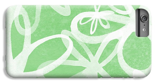 Lime iPhone 6s Plus Case - Waterflowers- Green And White by Linda Woods