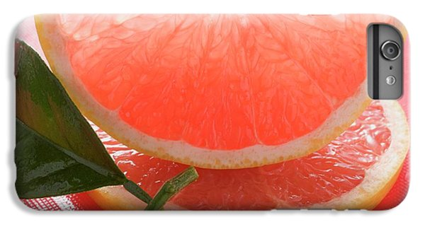 Wedge Of Pink Grapefruit On Slice Of Grapefruit With Leaf IPhone 6s Plus Case