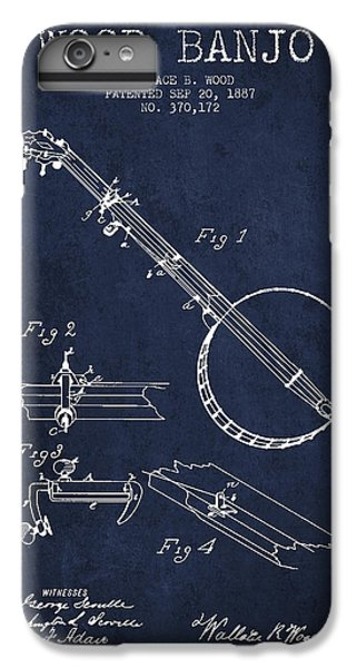 Folk Art iPhone 6s Plus Case - Wood Banjo Patent Drawing From 1887 - Navy Blue by Aged Pixel