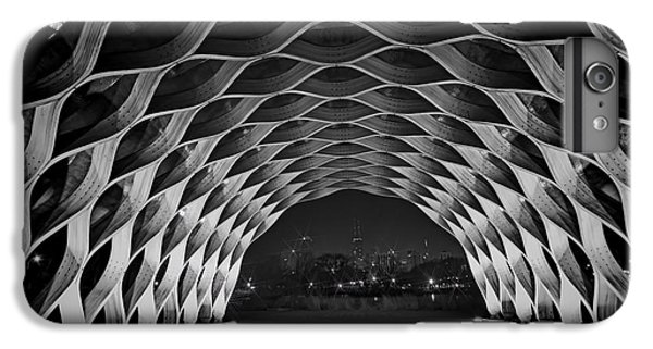 Hancock Building iPhone 6s Plus Case - Wooden Archway With Chicago Skyline In Black And White by Sven Brogren