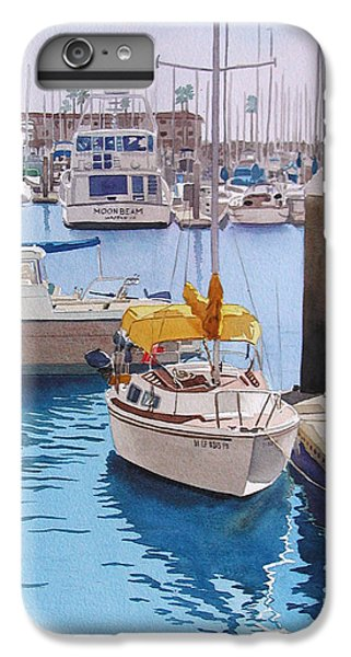 Boat iPhone 6s Plus Case - Yellow Sailboat Oceanside by Mary Helmreich