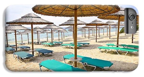 Greece iPhone 6s Plus Case - Beach Umbrellas On Sandy Seashore by Elena Elisseeva